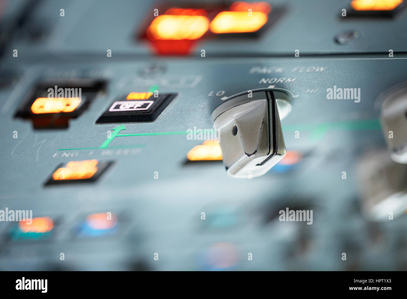 Cockpit - close up view on the control panel - Stock Image