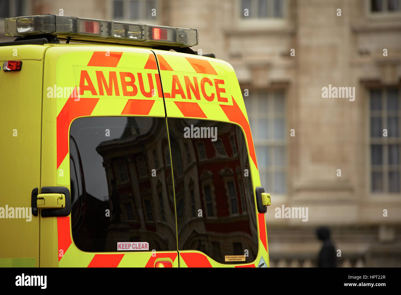 Door of the emergency ambulance car - selective focus - Stock Image