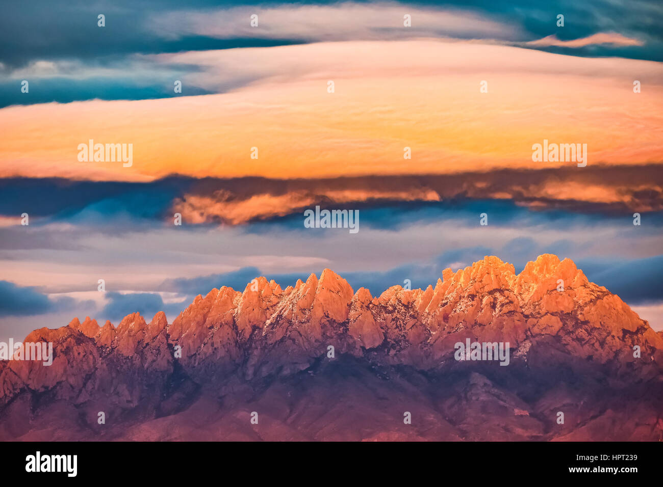 Lenticular Cloud over Organ Mountain-Desert Peaks National Monument, New Mexico.  Formed by executive order by President - Stock Image