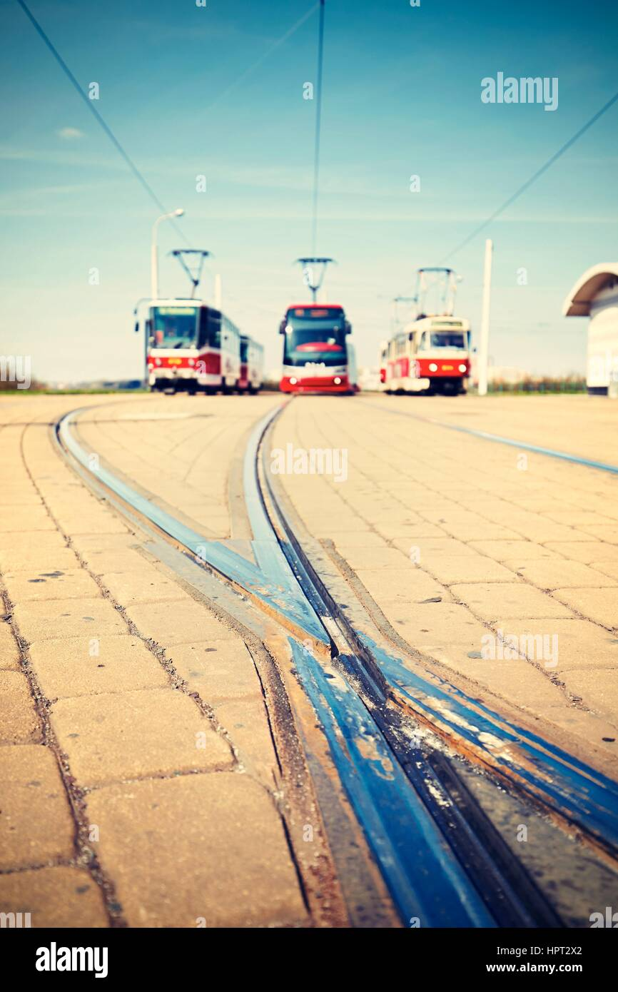 Terminal station of the tram lines in Prague - selective focus - Stock Image