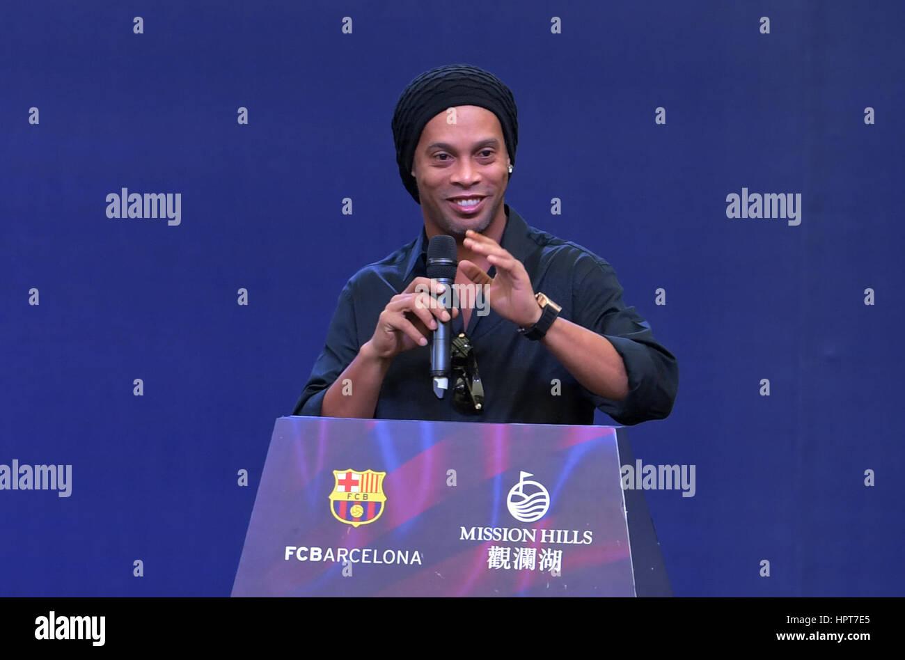 Haikou, China's Hainan Province. 24th Feb, 2017. Club Ambassador of Futbol Club Barcelona (FCB) Ronaldinho addresses - Stock Image