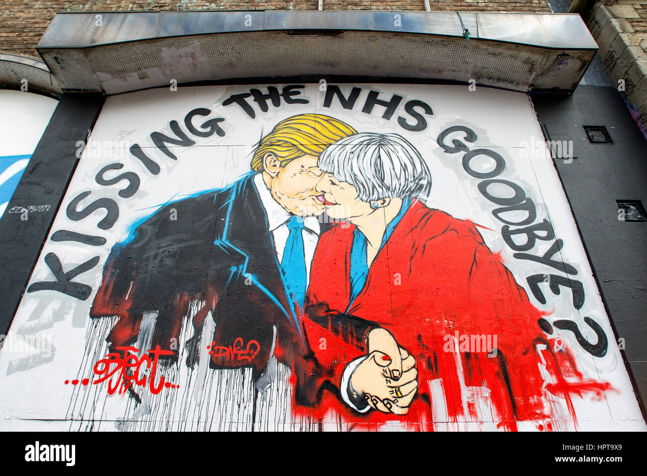Bristol, UK, 24th Feb, 2017. A new new piece of street art warning about the death of the NHS is pictured in Bristol. - Stock Image