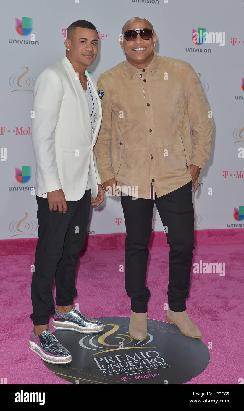 MIAMI, FL - FEBRUARY 23: Randy Malcom Martinez, Alexander Delgado of Gente De Zona attend Univision's 29th Edition Stock Photo