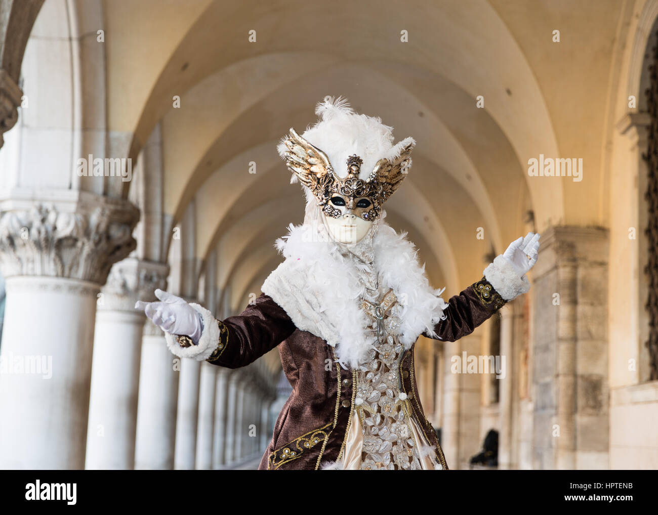 Venice, Italy. 25th February, 2017. People wearing carnival costumes pose during a clear, sunrise next to St Marks' - Stock Image