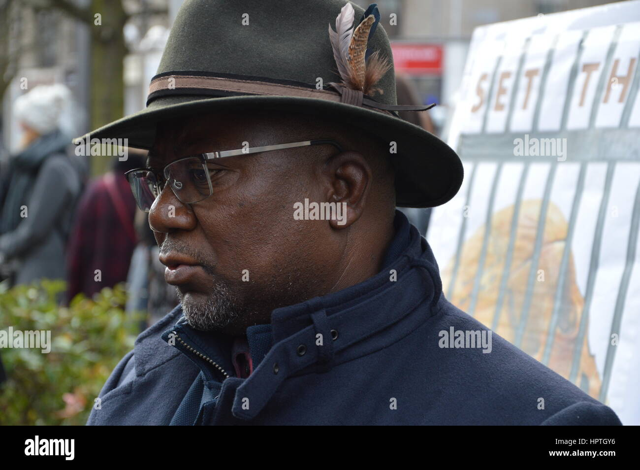Berlin, Germany. 25th Feb, 2017. The Memorial March for the African Victims of Colonialism in berlin, Germany. Credit: - Stock Image