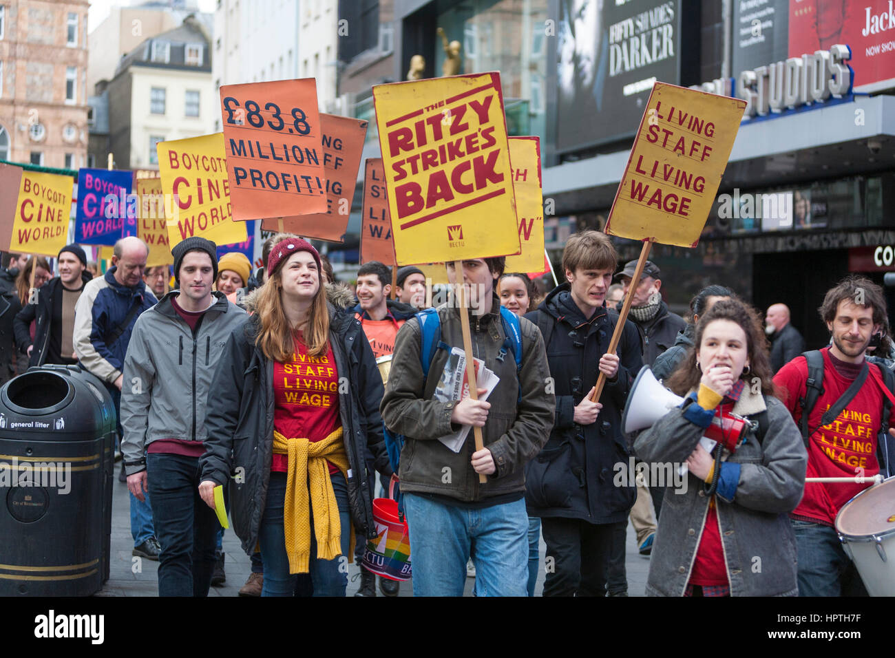 London, UK. 25th Feb, 2017. Picturehouse Cinema workers come out on strike as part of their long running campaign - Stock Image
