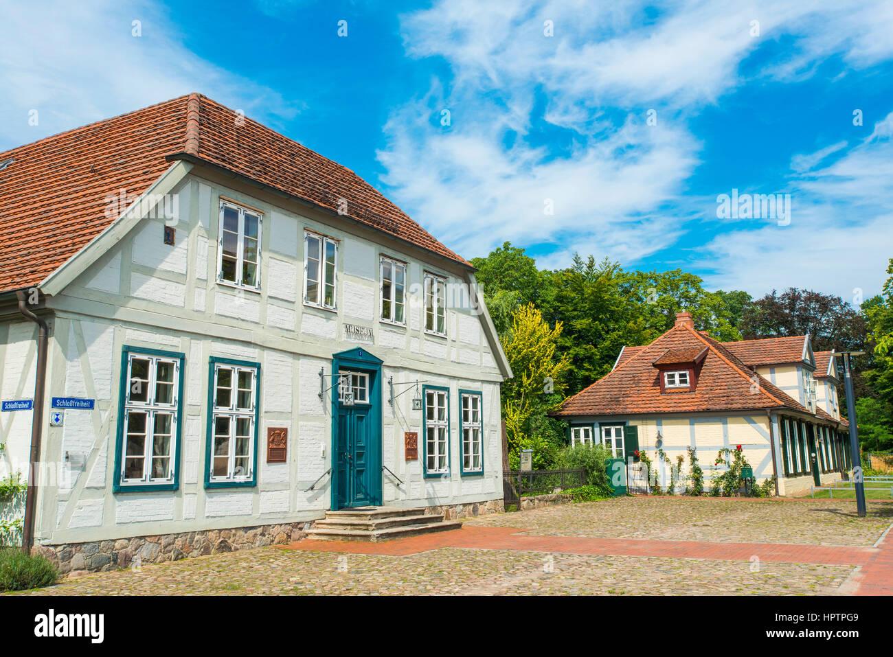 Framework houses at the place of castle Ludwigslust, Mecklenburg-West Pomerania, Germany - Stock Image