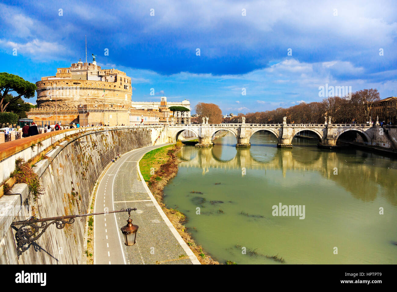 Castel Sant Angelo, with ethe bridge Pont Sant Angelo across the River Tiber in Parco Adriano district, Rome, Italy - Stock Image