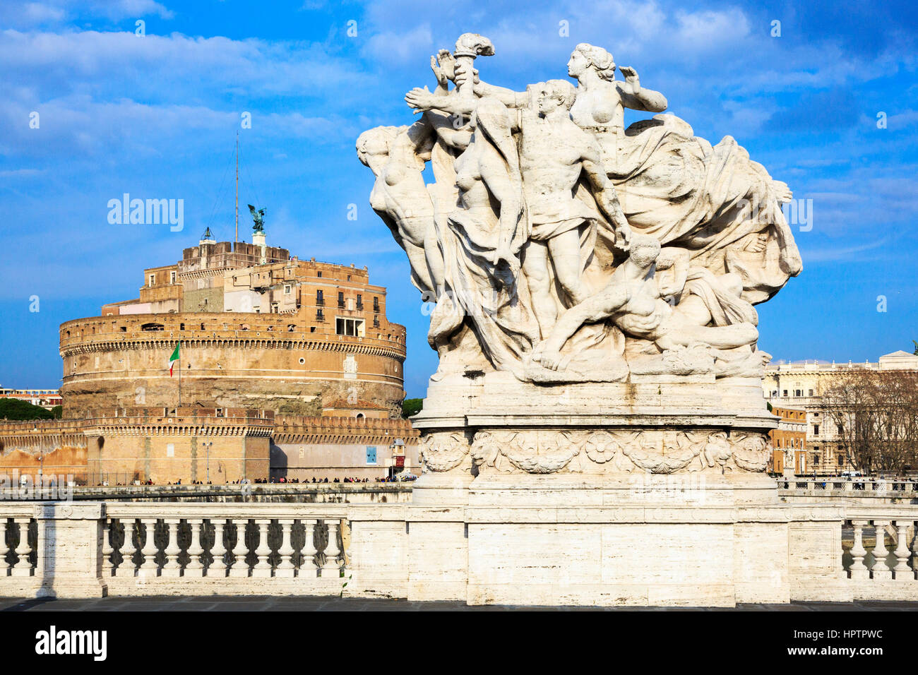 Castel Sant Angelo viewed from the Ponte Vittorio Emanuelle bridge, Parco Adriano district, Rome, Italy - Stock Image