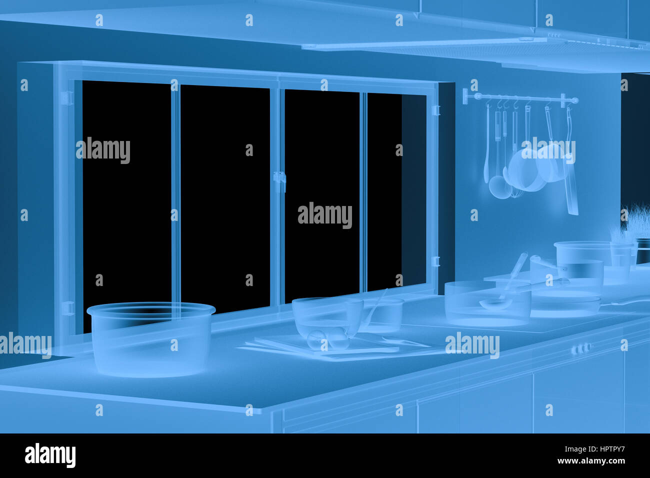 3d rendering x ray kitchen interior isolated on black Stock Photo ...