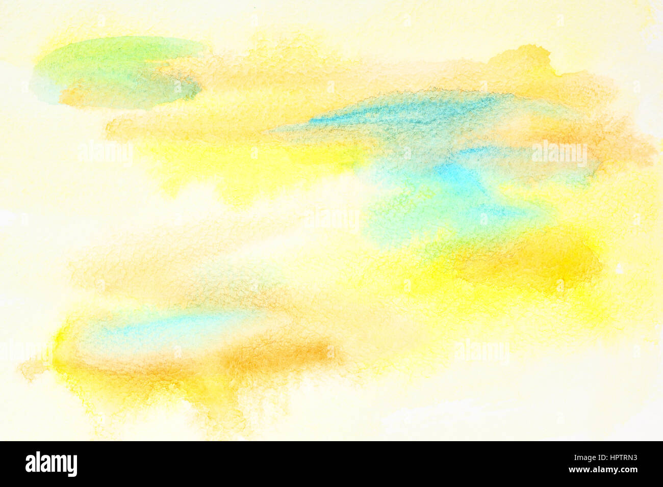 Pastel yellow abstract watercolor background with paper txture Stock Photo