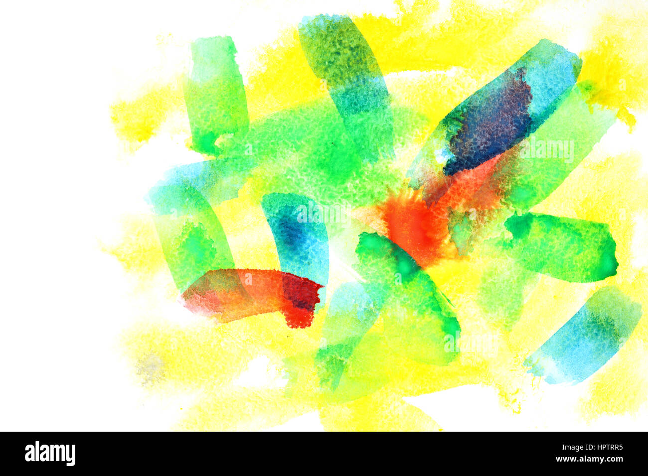 Variegated abstract watercolor background with copyspace Stock Photo