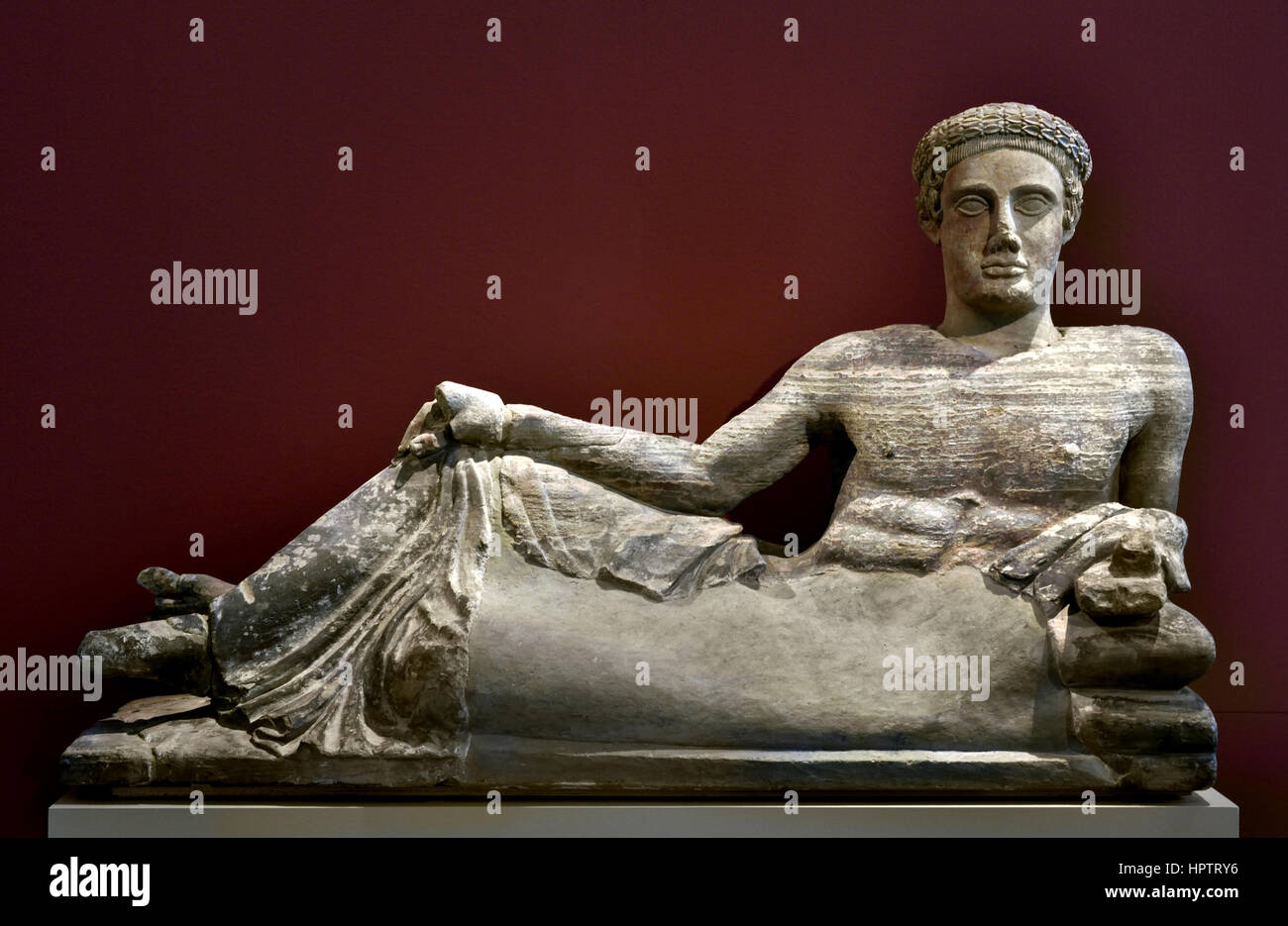 Cinerary Urn: Reclining Young Man, Italia Antiqua: Etruscans and Romans Chiusi Limestone , 460 -440 BC Etruria, - Stock Image