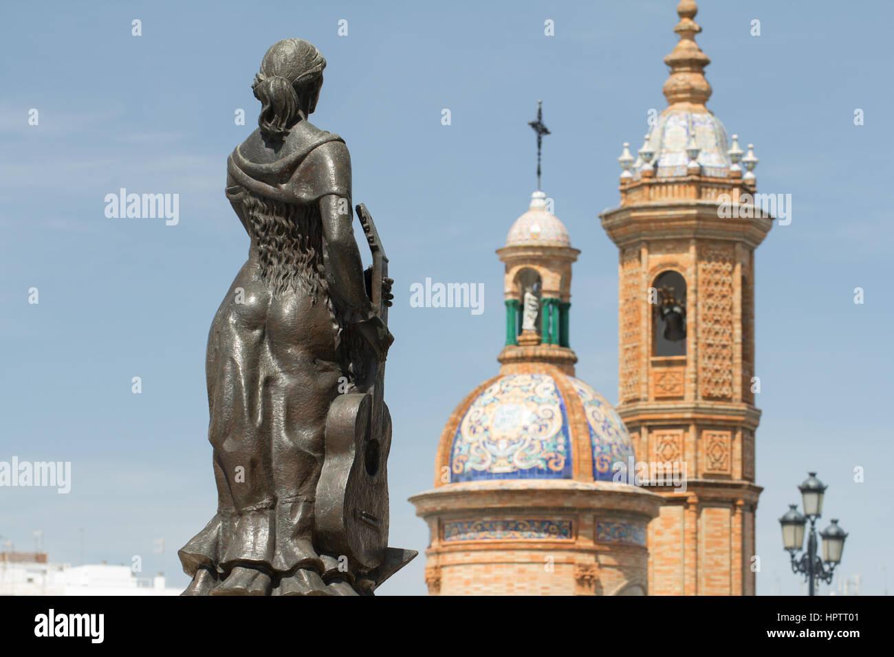 Seville, Spain, April 23 2015: flamenco woman statue in triana Seville. - Stock Image