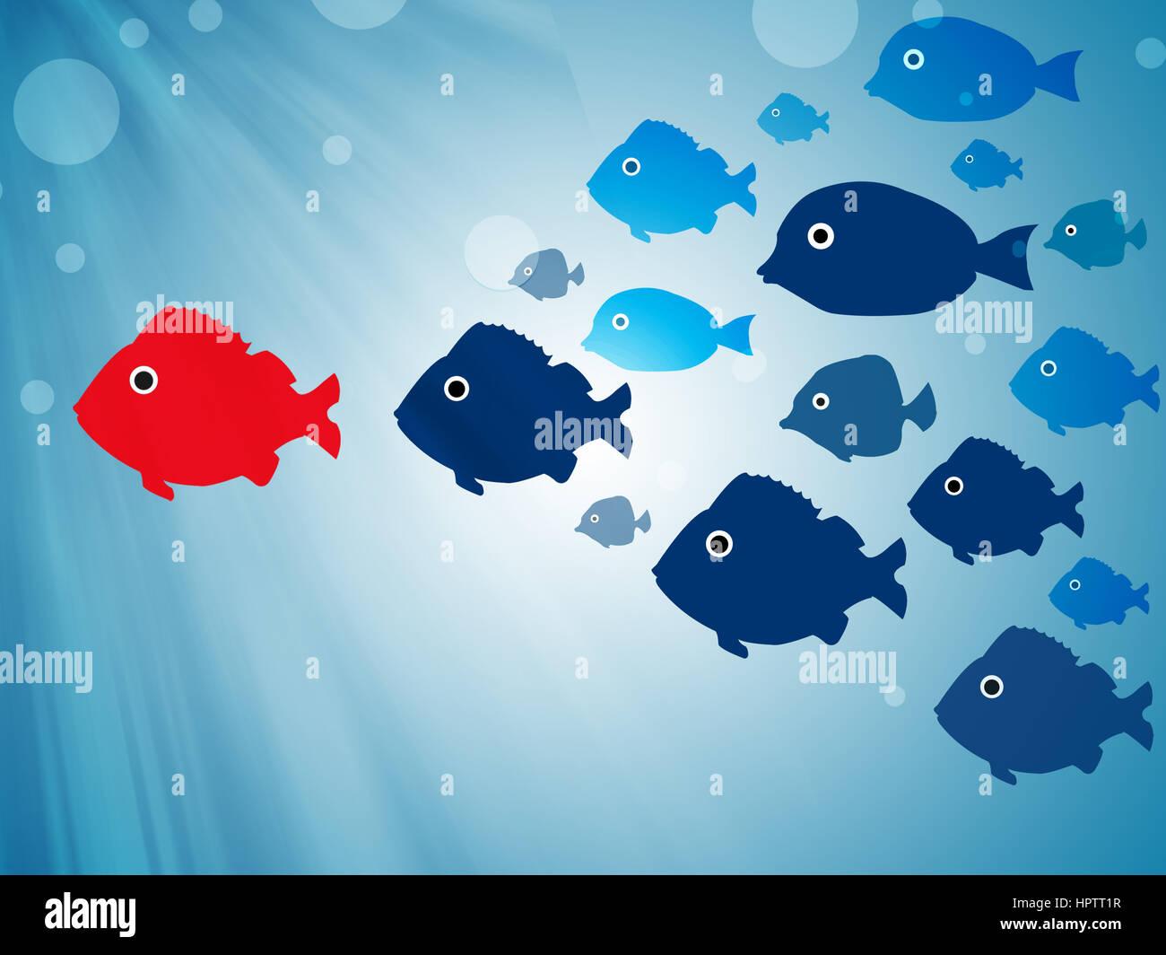 follow leader - Stock Image