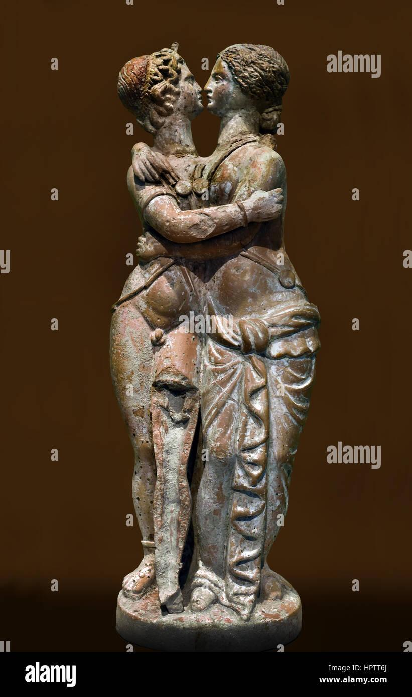 Amor and Psyche, 5th century BC - 1st century AD Greek Roman Terracotta Figurines - Stock Image