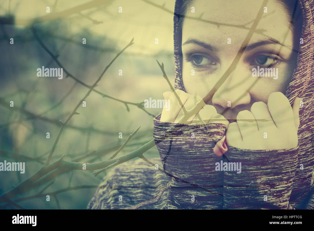 Sad woman concept - Stock Image