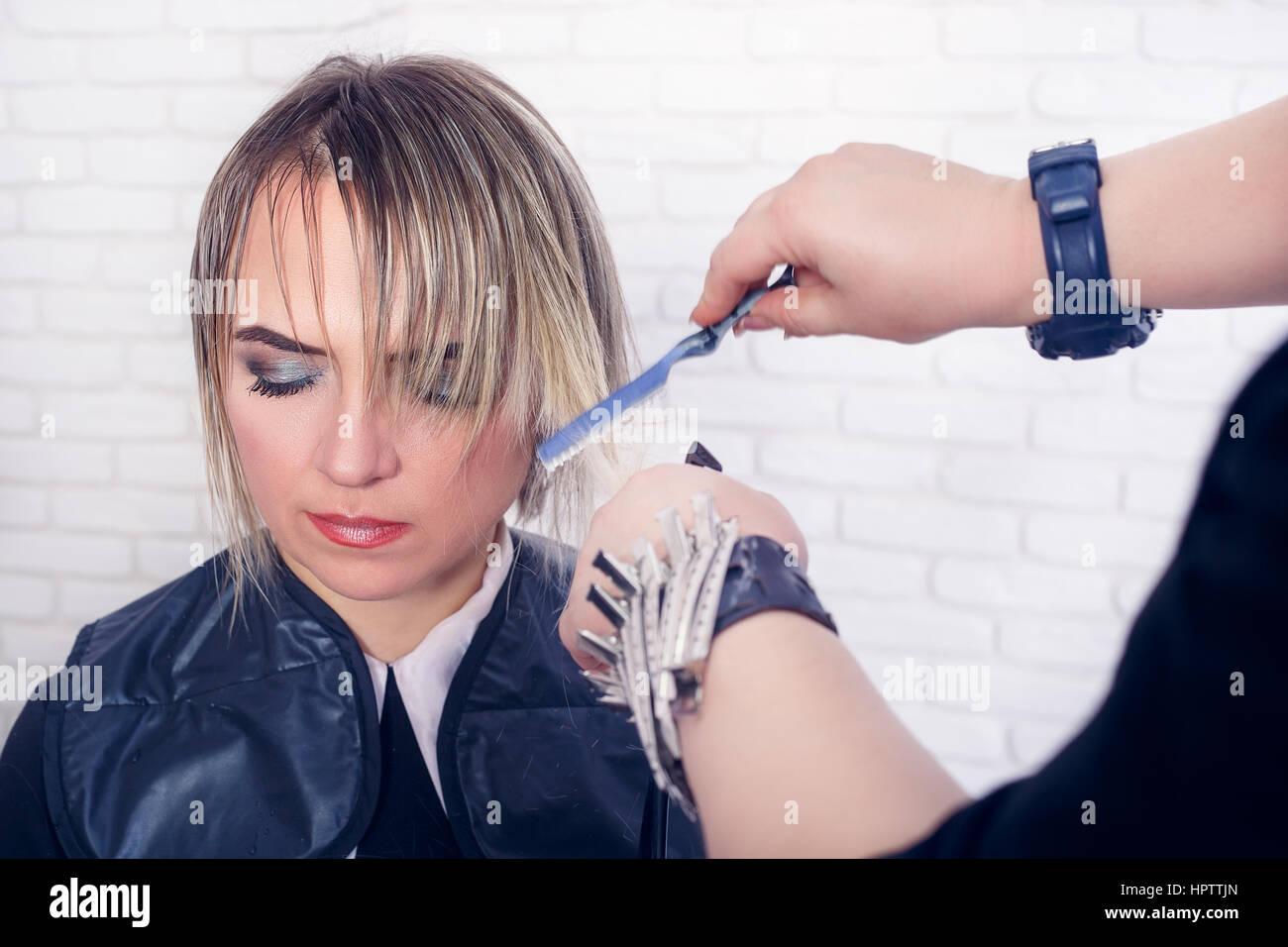 Women\u0027s haircut. Hairdresser, beauty salon. Professional