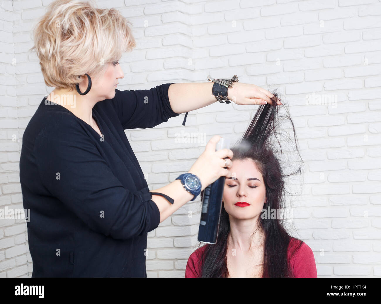 Beauty Hairstyle And People Concept Young Woman With Middle Aged