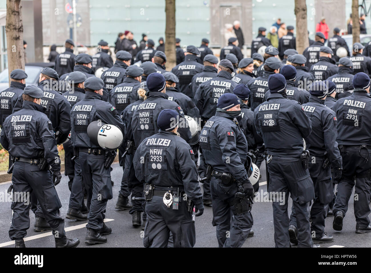 German riot police unit during a demonstration in Dortmund, Germany, - Stock Image