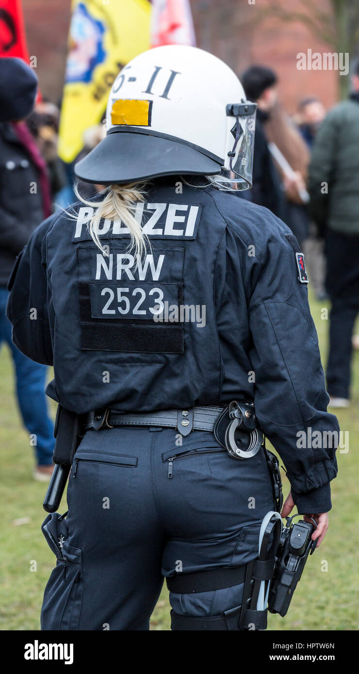 German riot police unit during a demonstration, in Oberhausen, Germany, - Stock Image