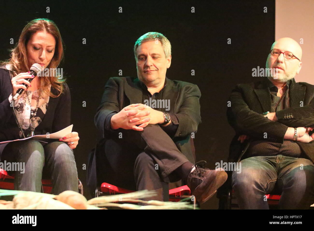 Succivo, Italy. 23rd Feb, 2017. Presentation of the last novel of the writer Maurizio De Giovanni 'Pane per - Stock Image