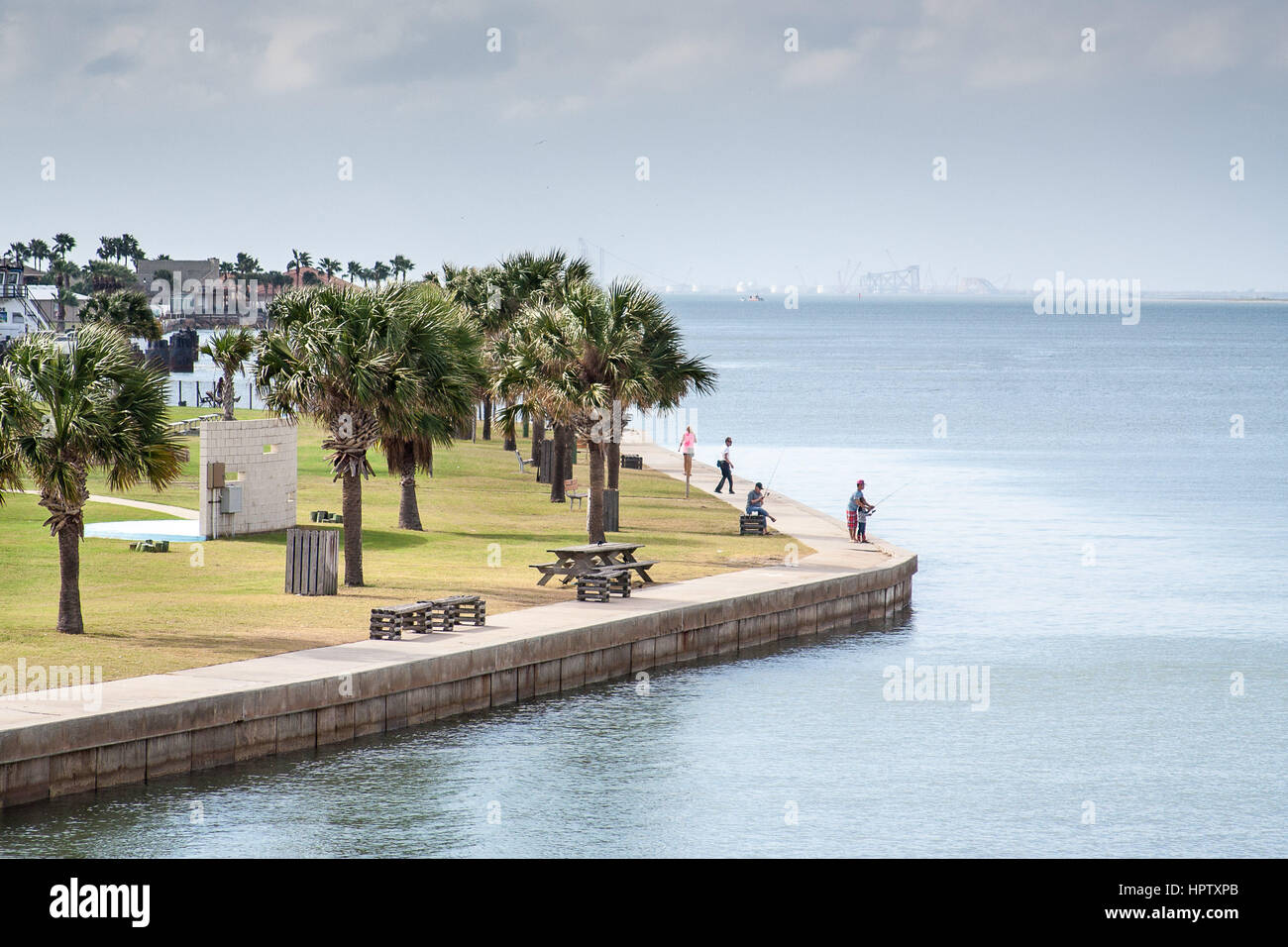 A scene from the overlook at Robert's Point Park in Port Aransas, Texas - Stock Image