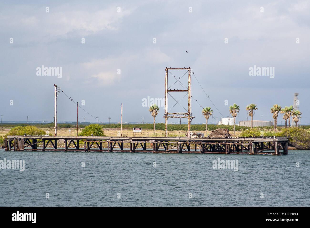 Industrial area across from Robert's Point Park in Port Aransas, Texas - Stock Image
