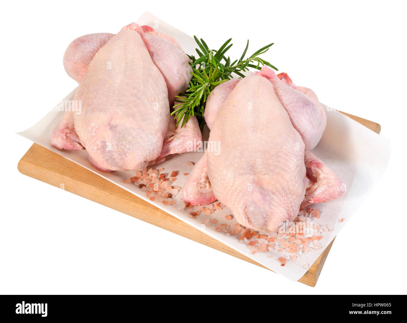 Small Raw Chickens(+clipping path) - Stock Image