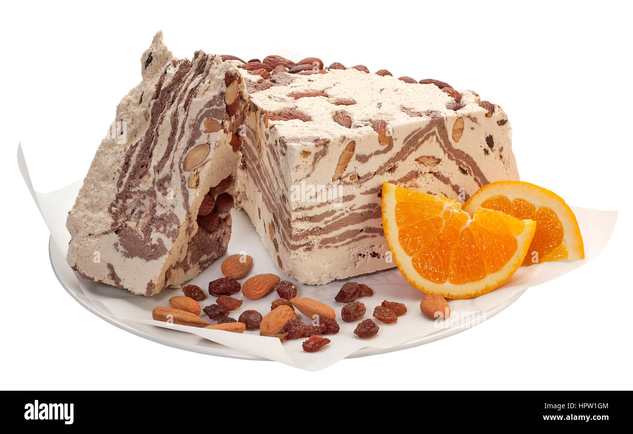 Halvah with cocoa,almonds and raisin - Stock Image