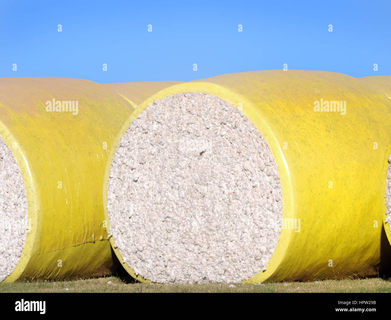 Large yellow bale, of raw cotton, lays ready for shipment in Eastern Arkansas. - Stock Image