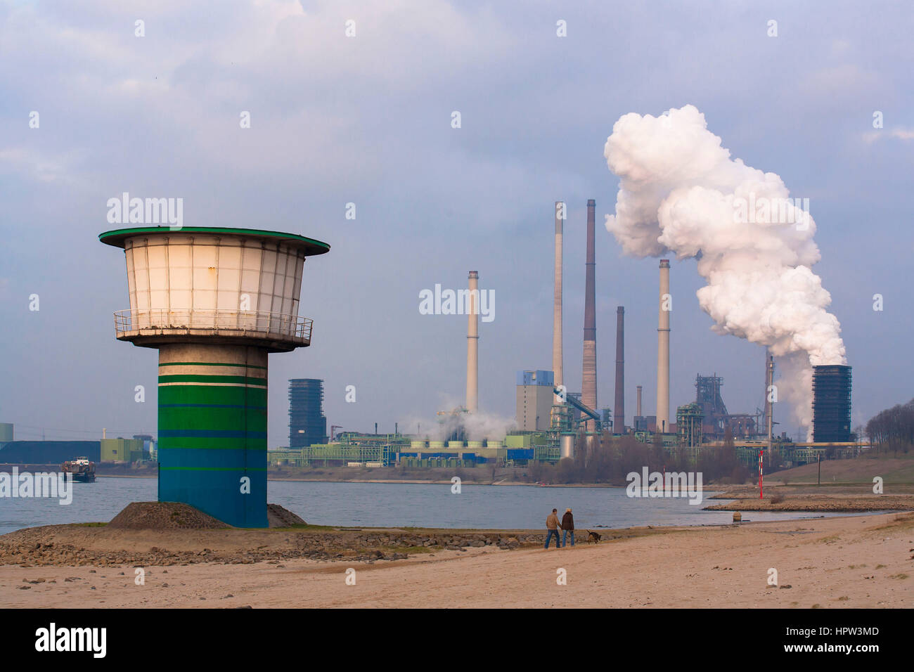 Germany,  Duisburg-Bruckhausen, tower of the water intake point for the drinking water abstraction at the river - Stock Image