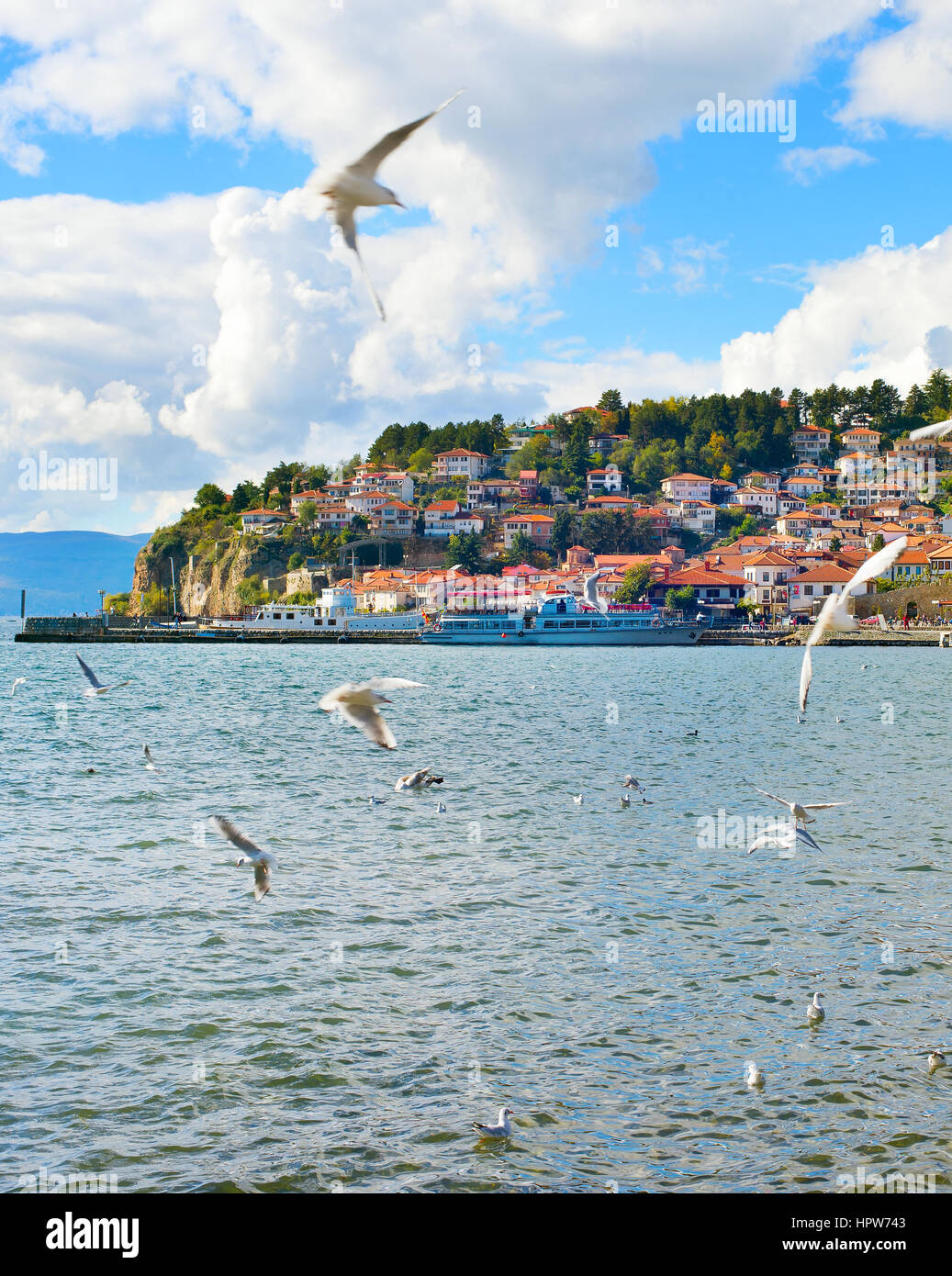 View of Ohrid quay in the sunshine day. Macedonia - Stock Image