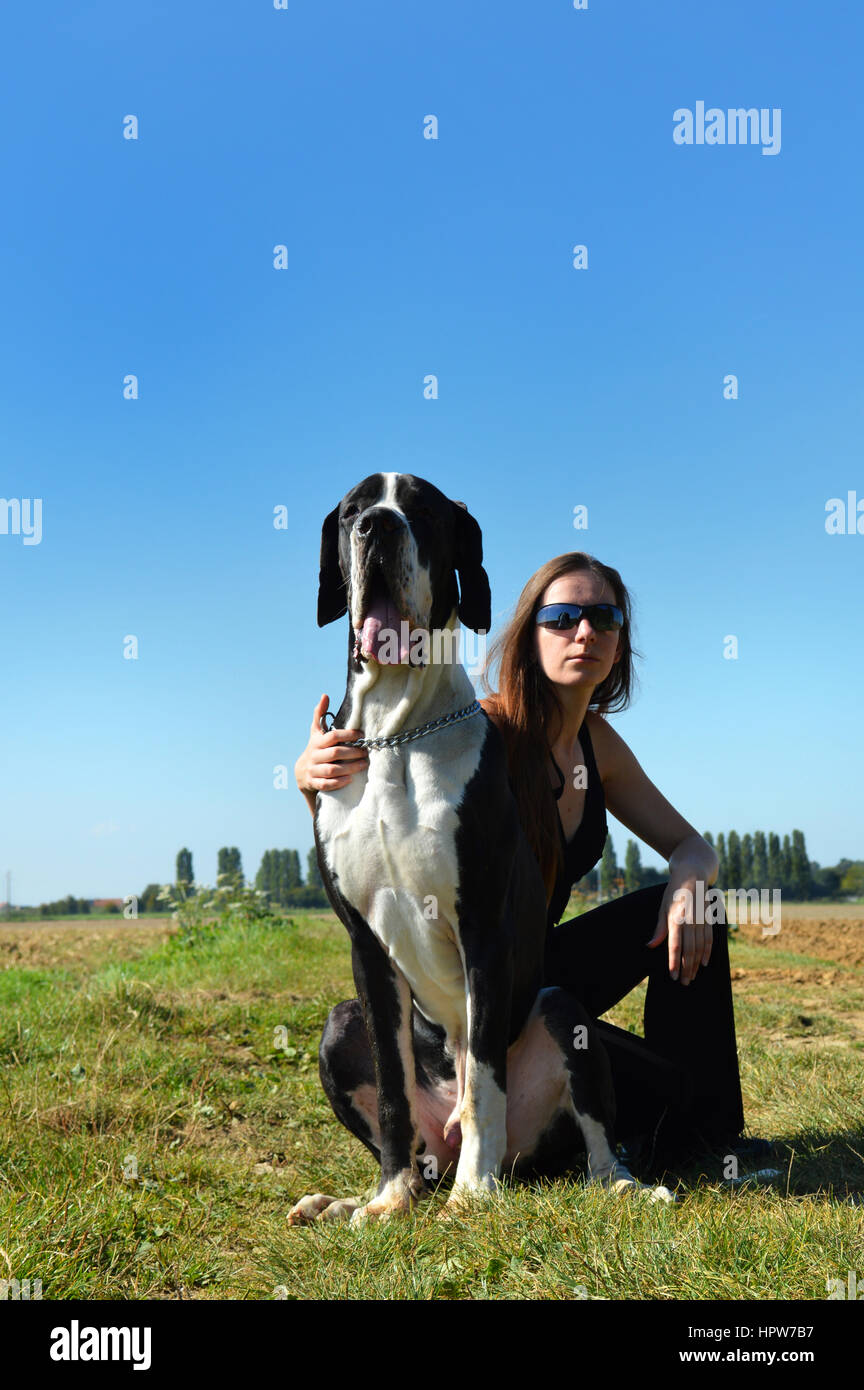 Great dane licking a girl