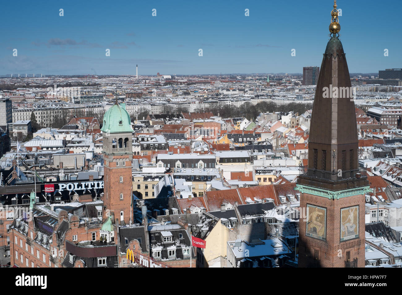 Copenhagen winter cityscape after snow taken from the city hall tower view north towards Nørrebro.  Scandic - Stock Image