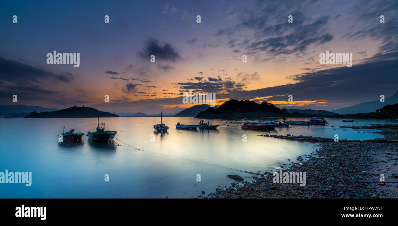 Sunrise time in San Mun Tsai, Tai Po, New Territories, Hong Kong - Stock Image