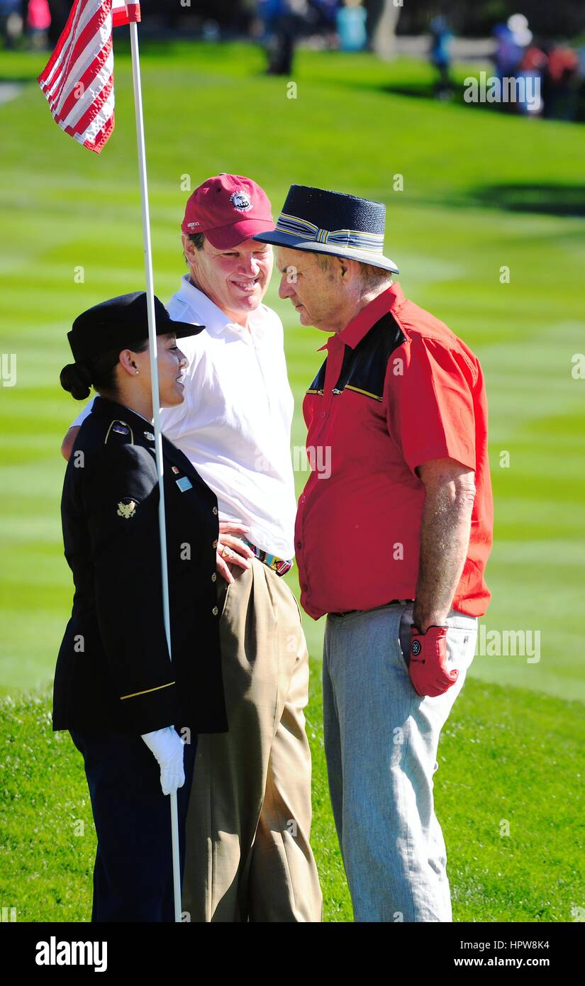 Actor and comedian Bill Murray talks to a service member