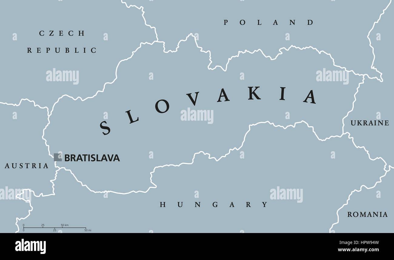 Slovakia political map with capital Bratislava national borders and