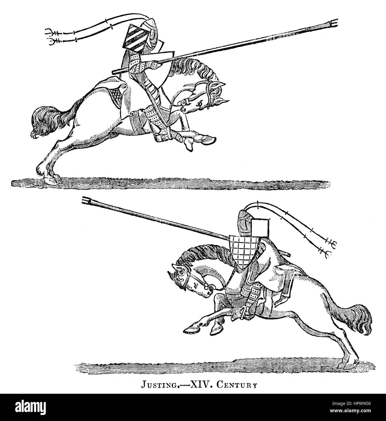 An illustration of Justing (jousting) in the 14th Century scanned at high resolution from a book printed in 1831. - Stock Image