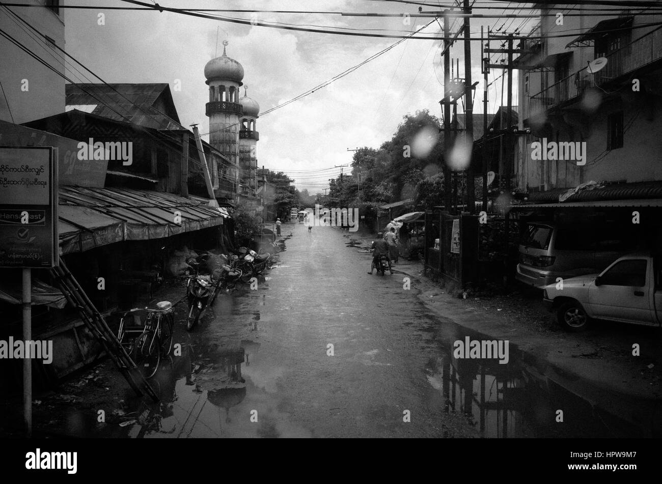 Myanmar in black - Stock Image