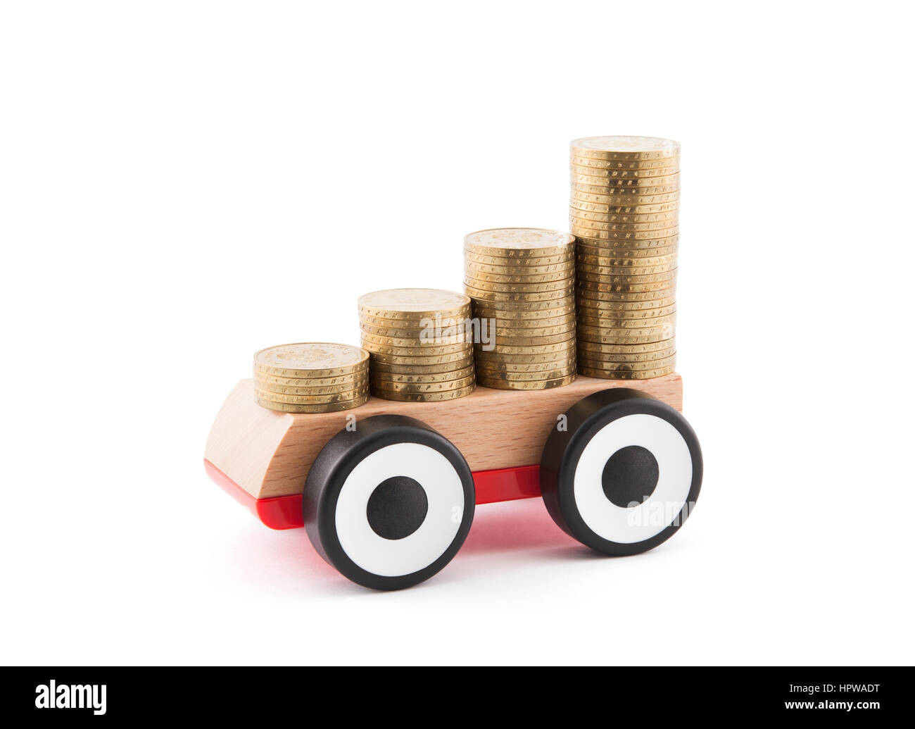 Saving money for a car. Clipping path included. Stock Photo