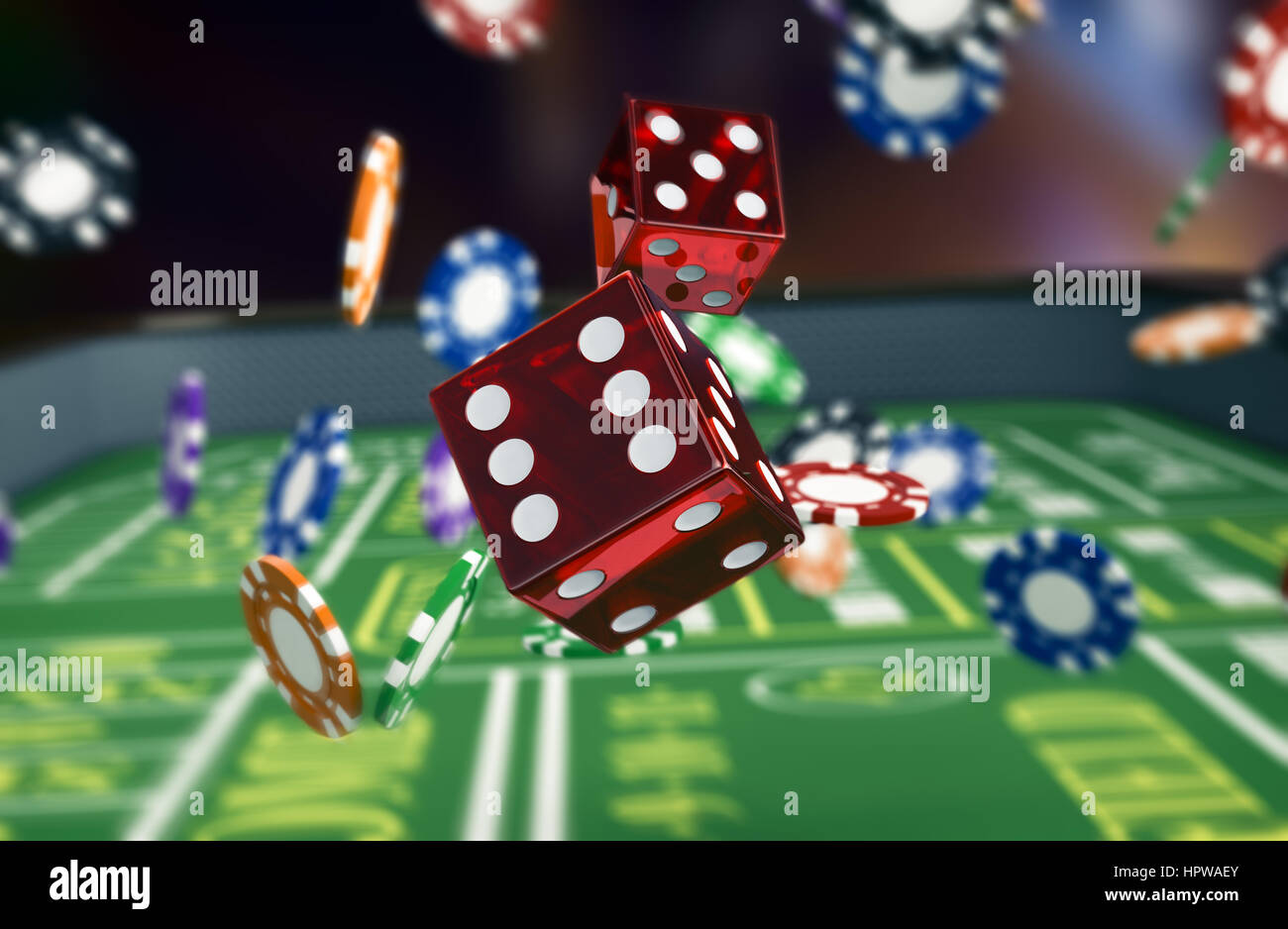close up view of a craps table with dices and fiches (3d render) - Stock Image