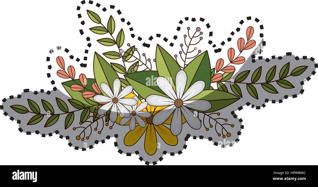 Faded flower stock vector images alamy sticker of flowers crown with floral design and leaves stock vector izmirmasajfo