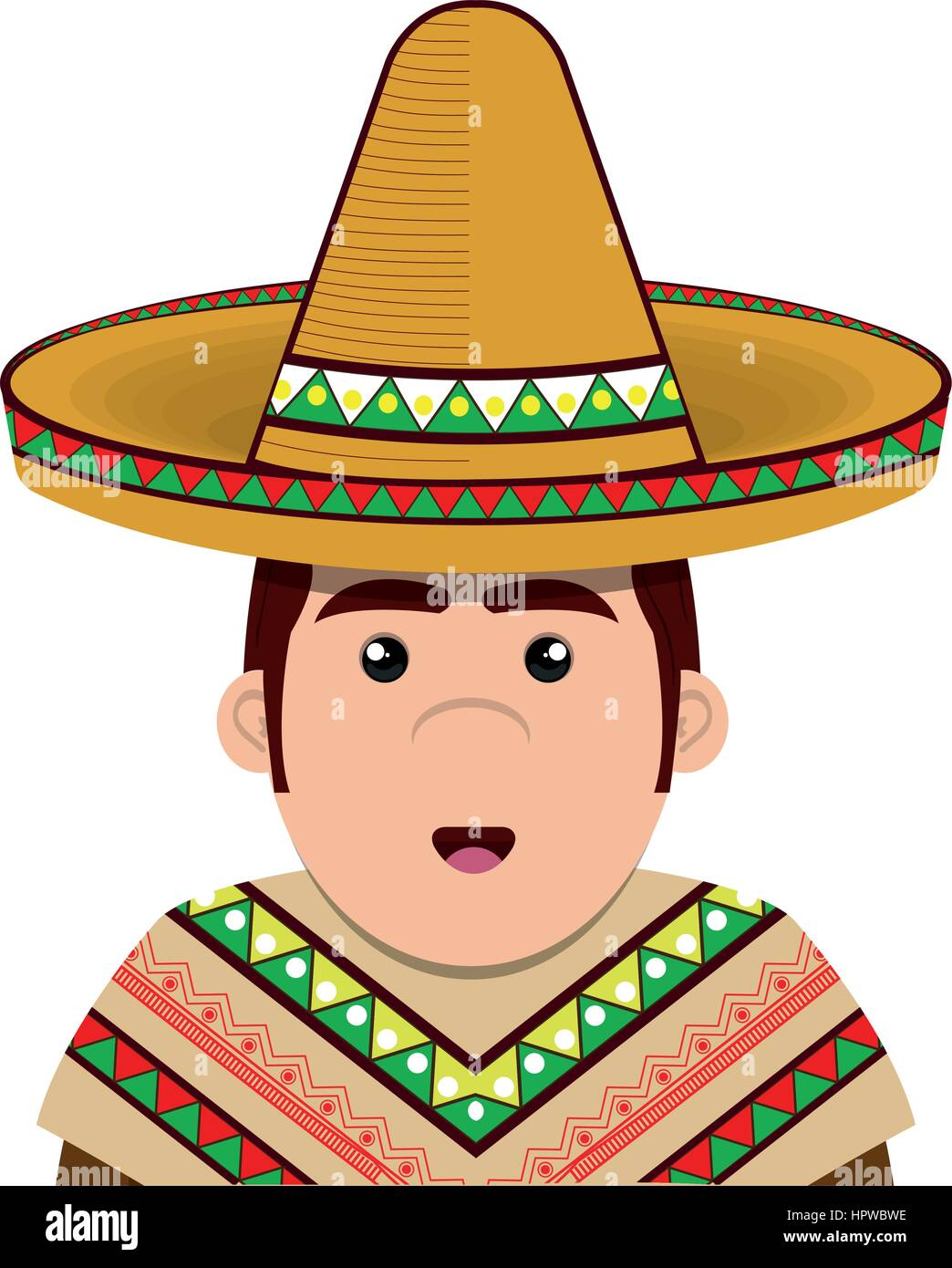 half body man mexican with hat - Stock Image