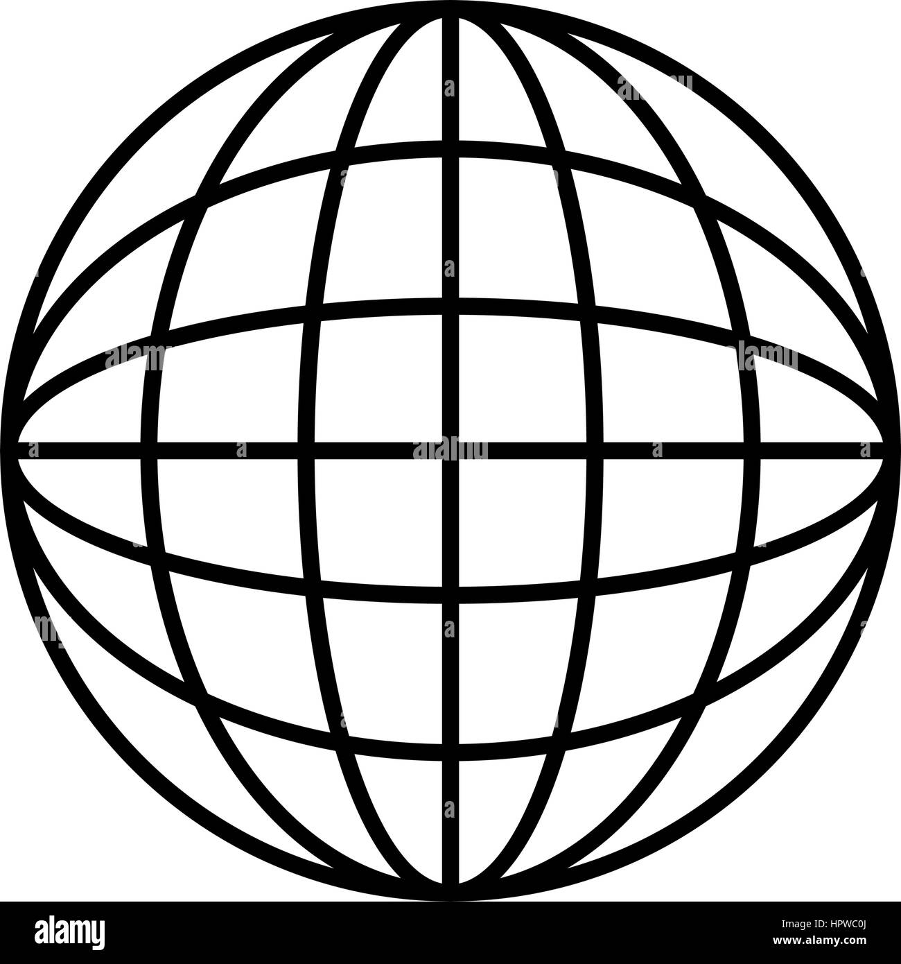 silhouette sphere with lines cartographic - Stock Image