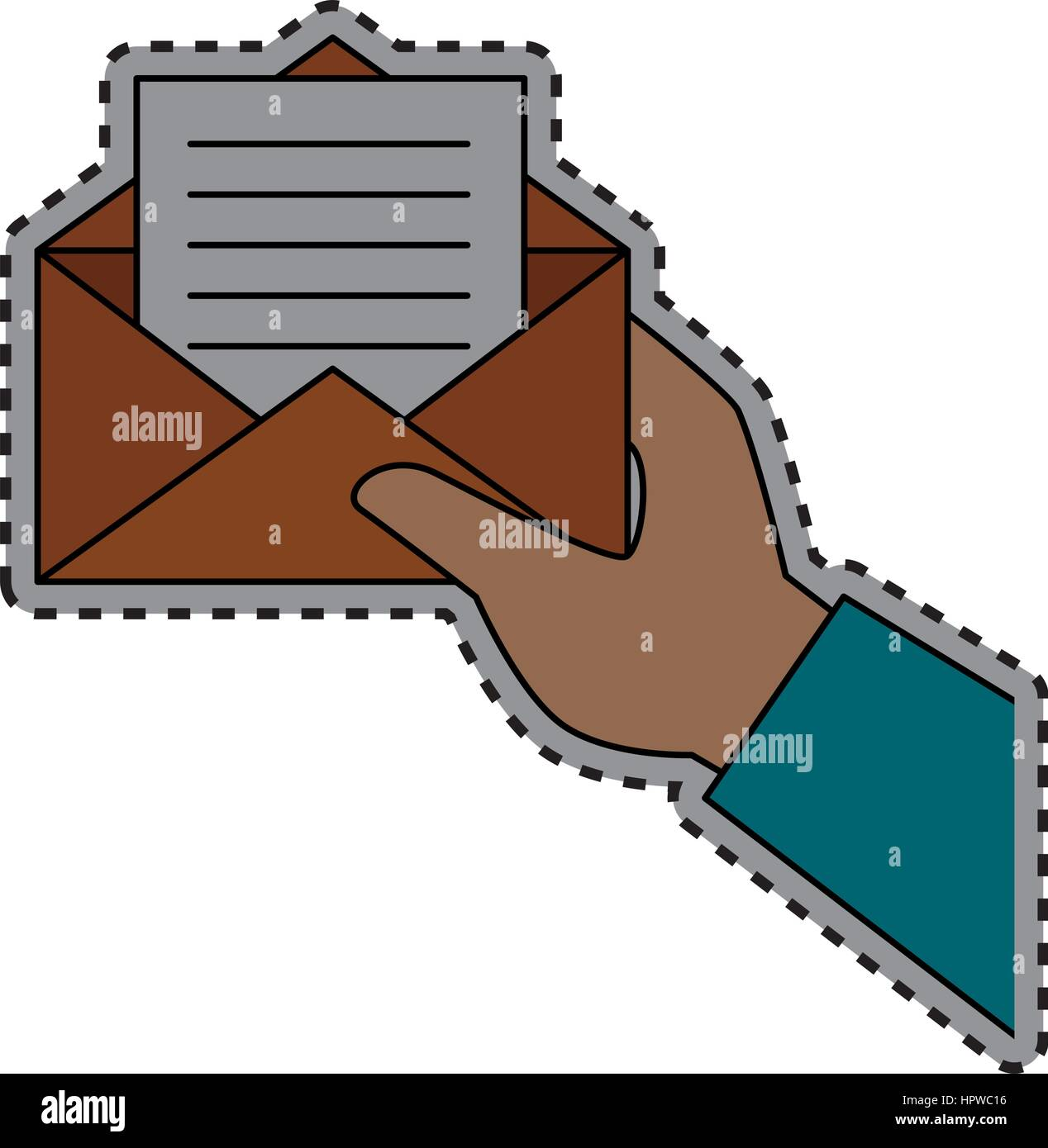 sticker shading hand holding Blank paper envelopes opened