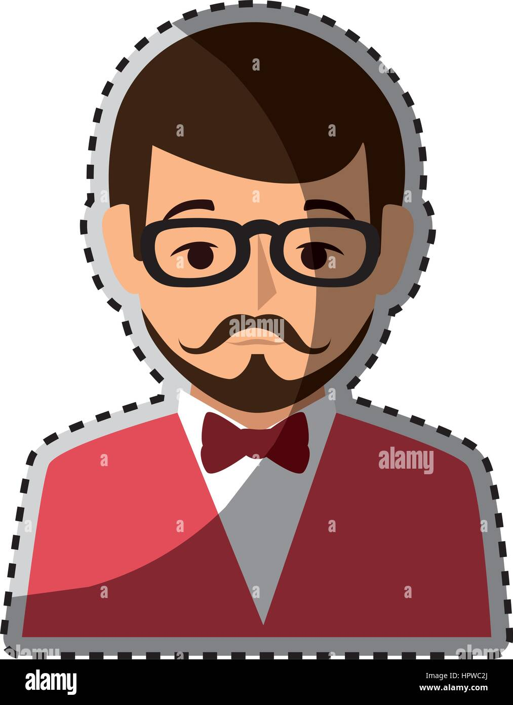 Sticker colorful half body man formal style with mustache stock image