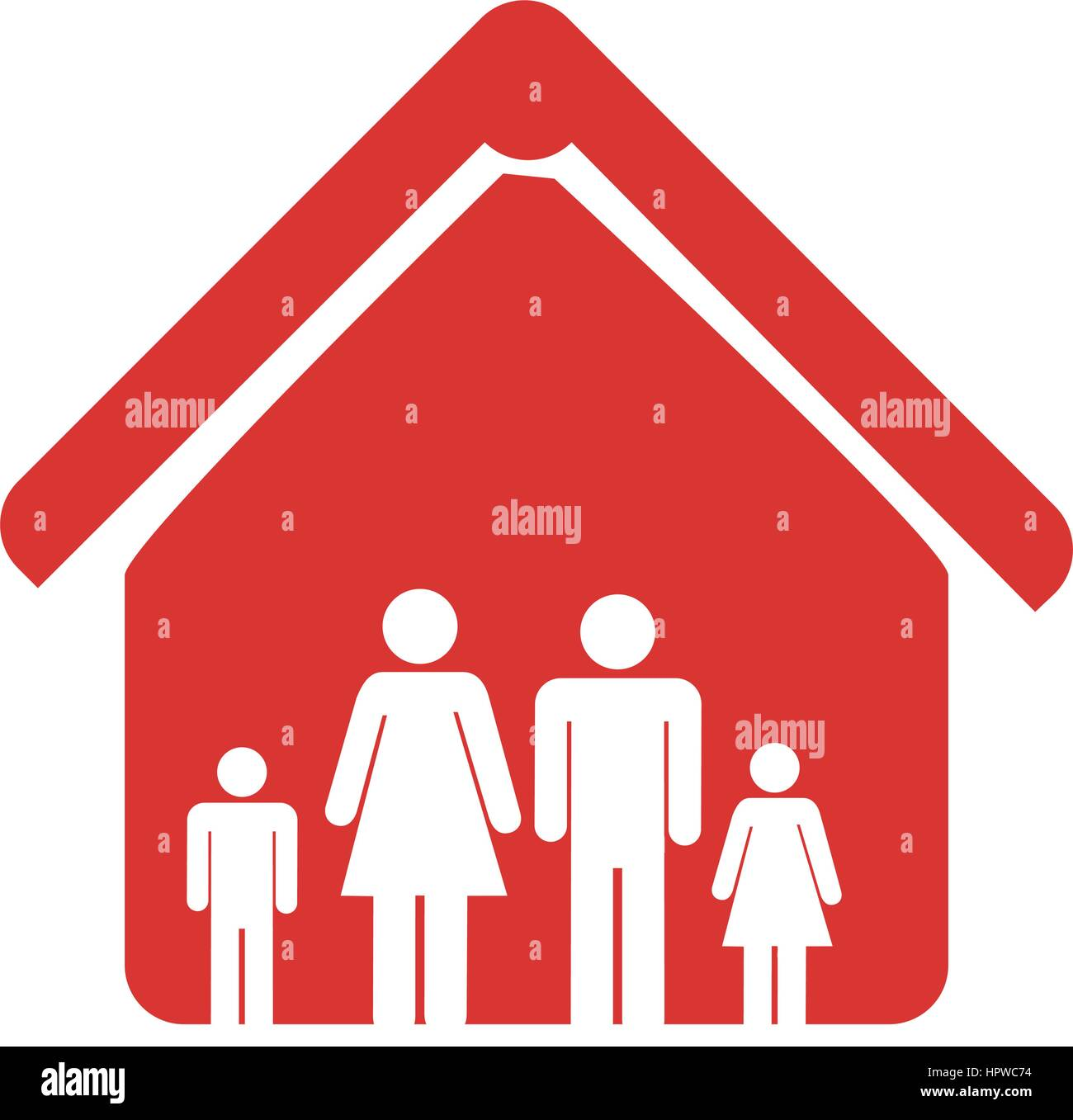 red color emblem pictogram with family in home Stock Vector Art ...
