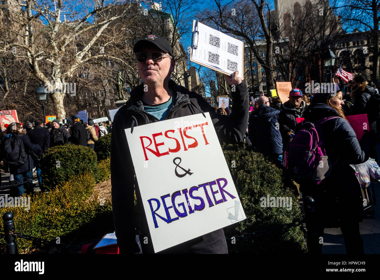 New York, USA 17 February 2017 - Activists rallied in Washington Square, in solidary with the  General Strike, to - Stock Image