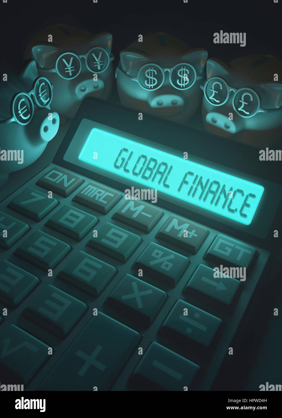 Calculator with global finance and piggy banks, illustration. - Stock Image